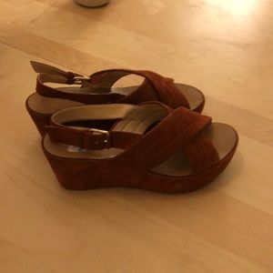 Jcrew suede cognac sandals!